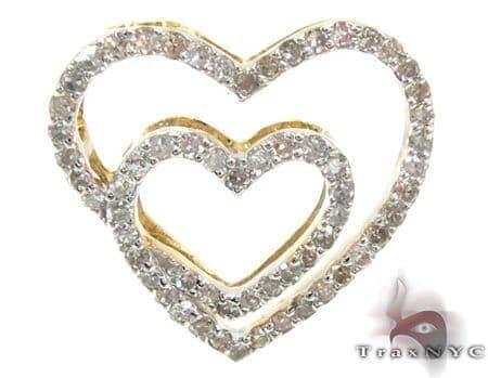 Ladies Diamond Double Heart Pendant 21491 Stone