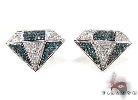 Mens 2 Color Diamond Earrings 21685 Stone