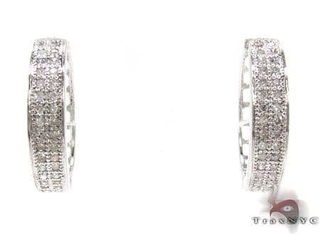 Ladies 2 Row Diamond Hoop Earrings 21741 Stone