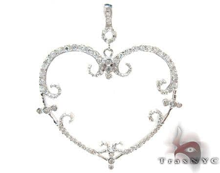 Ladies CZ Silver Heart Pendant 21996 Metal