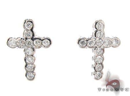 Diamond Cross Crucifix Earrings 22123 Stone
