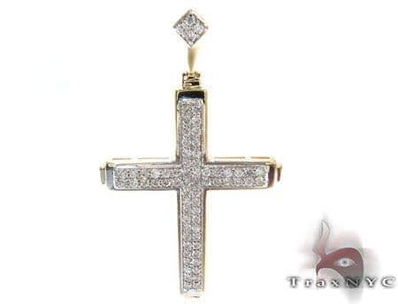 Two Row Mini Pave Cross Crucifix 3 Diamond