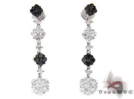 Ladies Prong Black Diamond Earrings 22265 Stone