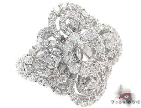 Ladies Prong Pave Diamond Semi Mount Ring 22329 Engagement