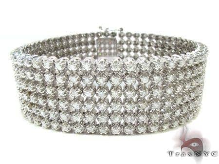 14k White Gold 6 Row Diamond Bracelet Diamond