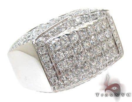 White Gold Pave Prong Diamond Ring Stone