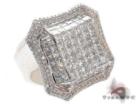 White Gold Invisible Prong Diamond Ring Stone