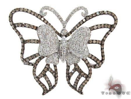 White Gold Round Cut Prong Bezel Two Color Diamond Butterfly Pendant Stone