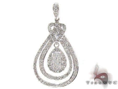 White Gold Round Princess Cut Prong Invisible Diamond Pendant Stone