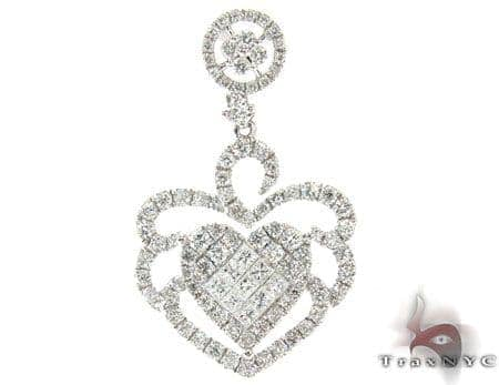 White Gold Round Princess Cut Prong Invisible Diamond Heart Pendant Stone