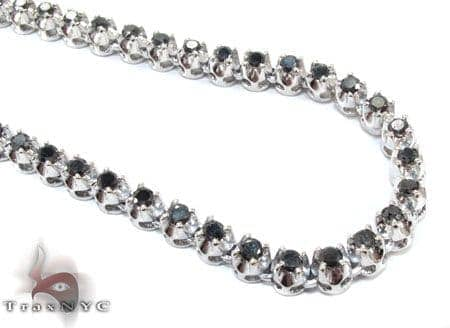 White Gold Black Diamond Chain 20 Inches 5mm 31.1 Grams Diamond