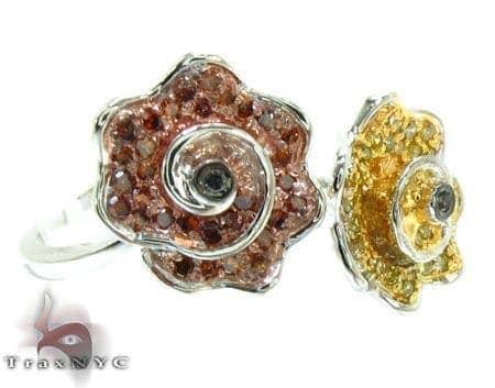White Gold Round Cut Micro Pave Bezel Diamond Rose Ring Anniversary/Fashion