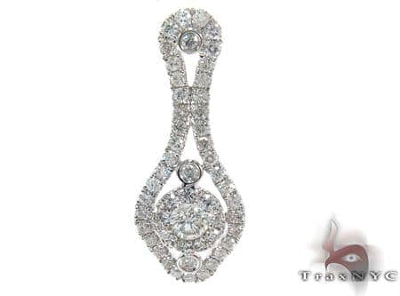 White Gold Round Cut Bezel Prong Diamond Pendant Stone