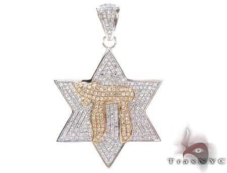 Two Tone Gold Round Cut Prong Diamond Pendant Metal