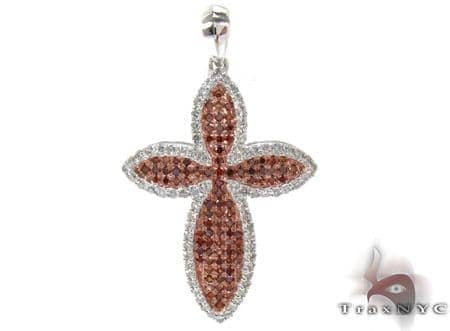 White Gold Round Cut Prong Two Color Diamond Cross Crucifix 23590 Style