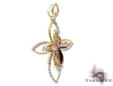 Two Tone Gold Round Cut Prong Diamond Cross Crucifix Style