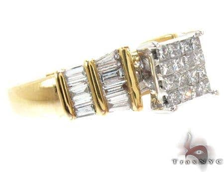 Yellow Gold Princess Baguette Cut Invisible Channel Cut Diamond Ring Engagement