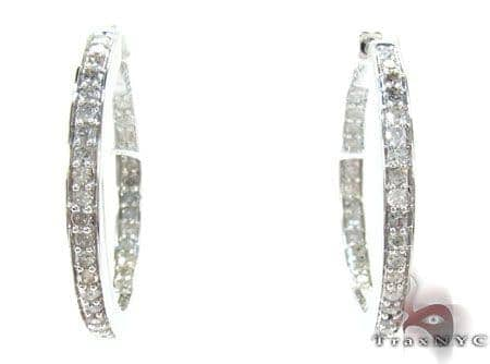 White Silver Round Cut Prong Diamond Hoops Metal