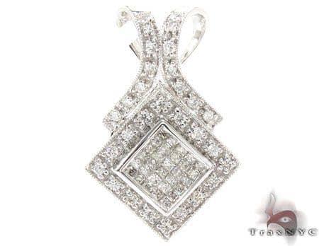 White Gold Princess Round Cut Invisible Prong Diamond Pendant Stone