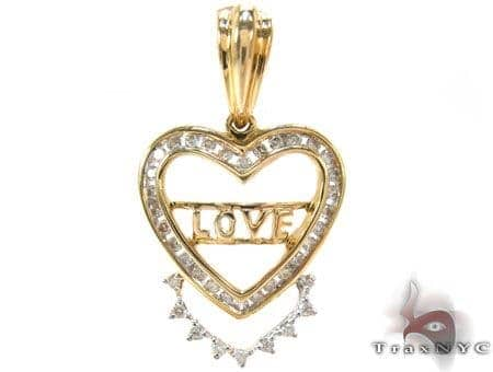 Yellow Gold Round Cut Prong Channel Diamond Heart Pendant Style