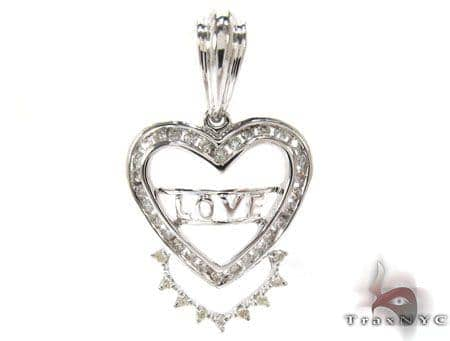 White Gold Round Cut Prong Channel Diamond Heart Pendant Style