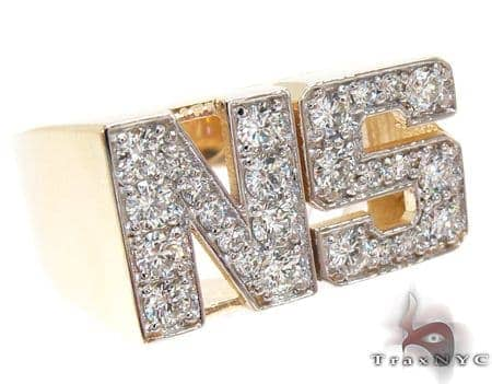 Yellow Gold Round Cut Prong Diamond NS Ring Stone