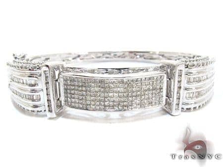 White Gold Round Princess Cut Prong Invisible Diamond Bangle Bracelet Diamond
