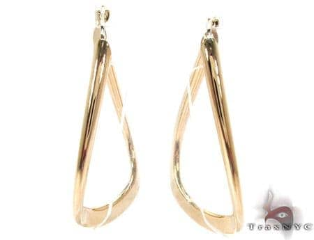 14K Yellow Gold Abstact Hoops Metal