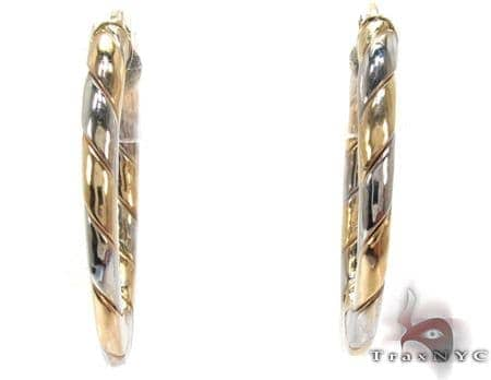 14K Two-Tone Gold Hoops Metal