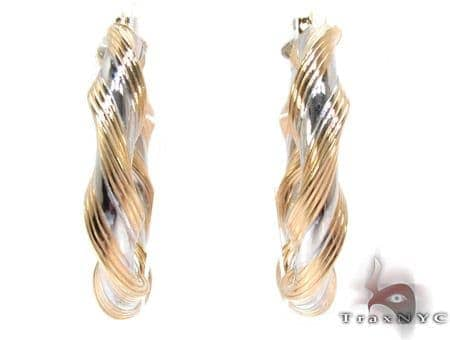 Two Tone 14K Gold Twine Hoop Earrings Metal