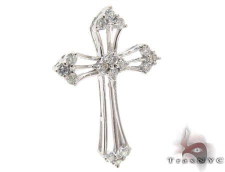 Ladies Prong Diamond Cross Crucifix 21204 Style