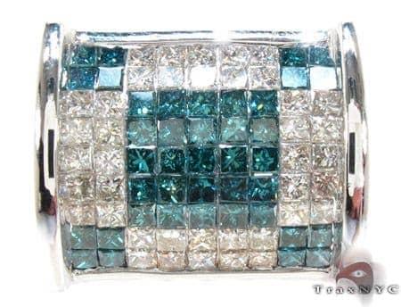 White Gold Princess Cut Invisible Two Color Diamond Ring Stone