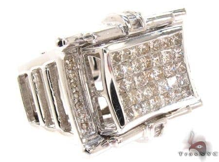 White Gold Princess Round Baguette Cut Invisible Channel Prong Diamond Ring Stone