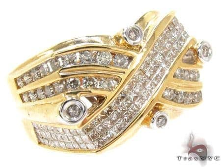 Yellow Gold Round Princess Cut Channel Invisible Bezel Diamond Ring Stone