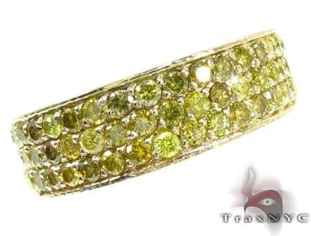 3 Row Canary Color Diamond Ring Stone