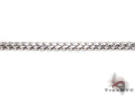 Silver 14K White Gold Plated Franco Chain 30 Inches, 1mm, 14.7 Grams Silver