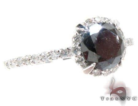 White Gold Diamond & round cut Onyx Ring Anniversary/Fashion