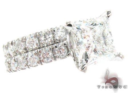 White Gold Princess Round Cut Prong Diamond Wedding Ring Set 24887 Engagement