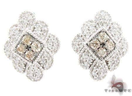 White Gold Round Cut Prong Champagne Color Diamond Earrings Stone