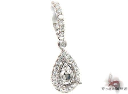 Petite Diamond Teardrop Semi Mount Pendant Style