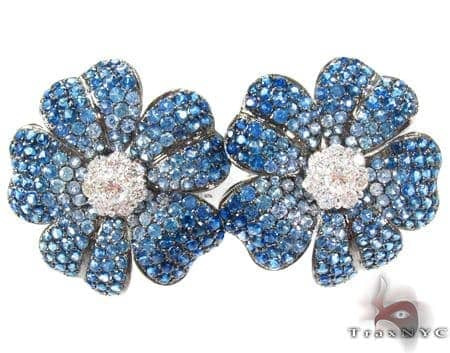 Blue Shades Sapphire & Diamond Flower Earrings Stone