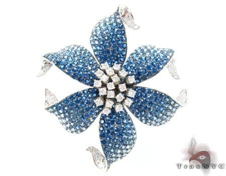 White Gold Light Blue Shades Sapphire & Diamond Flower Brooch Stone