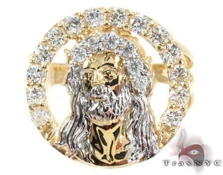 Yellow 10K Gold CZ Jesus Ring 25246 Metal