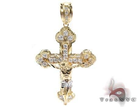 Yellow 10K Gold CZ Jesus Cross Crucifix Pendant 25308 Gold