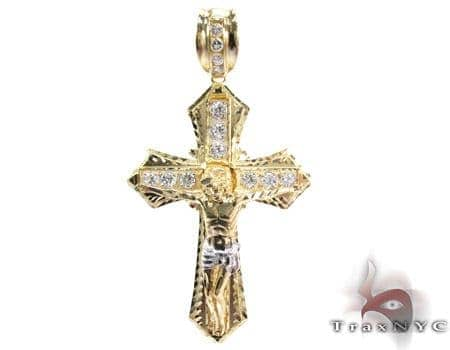 Yellow 10K Gold CZ Jesus Cross Crucifix Pendant 25309 Gold