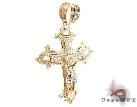 Yellow 10K Gold CZ Jesus Cross Crucifix Pendant 25314 Gold