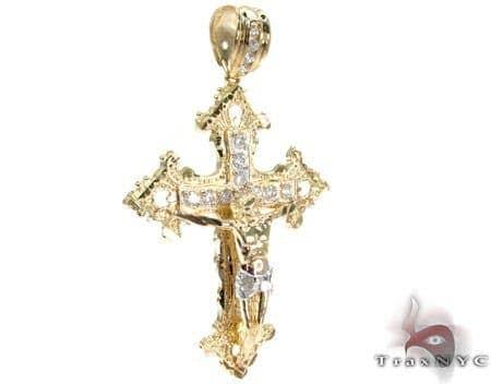 Yellow 10K Gold CZ Jesus Cross Crucifix Pendant 25315 Gold