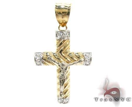 Yellow 10K Gold CZ Jesus Cross Crucifix Pendant 25318 Gold