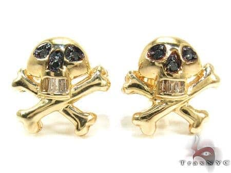 14K Gold Skull Diamond Earrings Stone