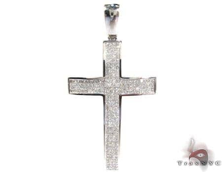 14K Gold Diamond Cross Crucifix Pendant 25412 Diamond